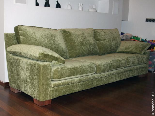 Перетяжка дивана до и после
